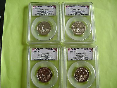 2015 Native American Pcgs Ms67 P&d Pos A&b 4-Coin Business Strike Dollar Set