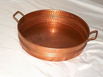 Vintage Pre-Owned Very Large Copper Storage Bowl Vessel With Brass Handles