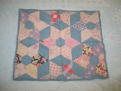 Antique Vintage Doll Quilt-Patchwork Pin Wheel Quilt 1930-40s Feedsack fabrics-
