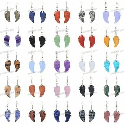 30mm Carved Rock Gemstone Crystal Angel Wing Healing Handmade Dangle Earrings