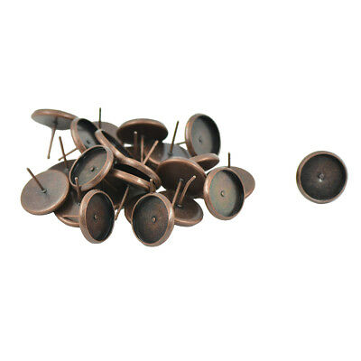 24x Copper Metal 12mm Round Earring Blank Ear Post Cabochon Setting Ear Stud