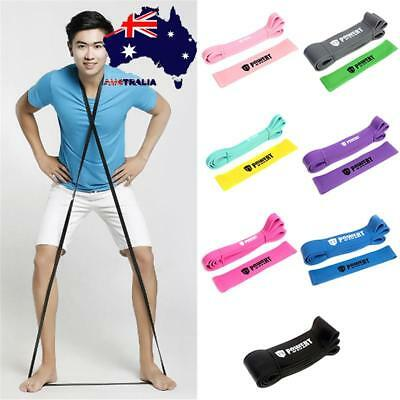 AU Elastic Yoga Stretch Resistance Exercise Fitness Band Rubber Theraband Strap