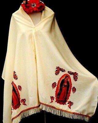 Virgen Guadalupe Ivory Pashmina Shawl Chal Rebozo Table Runner Ruana Mexico