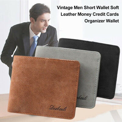 Vintage Men Soft Leather Money Clip Short Wallet Credit Card Holder Purse Retro