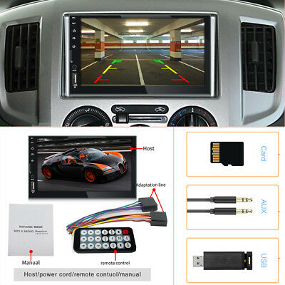 """7"""" 2 Din Car Stereo Radio FM/MP5 Player Bluetooth HD 1080P Touch Screen TF DC12V"""