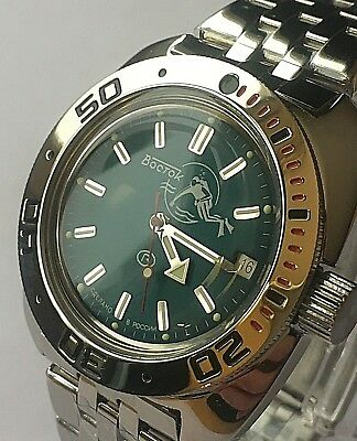 VOSTOK AMPHIBIAN RUSSIAN DIVER WATCH AUTOMATIC 200 m #710059 NEW