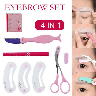 Eyebrow Grooming Shaping Stencil Kit Brow Template Makeup Shaper DIY Tool Set