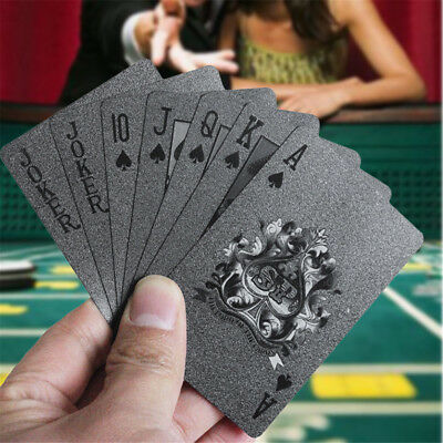 Black Playing Cards Deck Magic Card Plastic Foil Poker Waterproof Cards Fashion