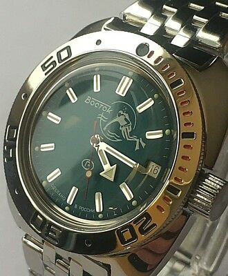 AMPHIBIAN VOSTOK RUSSIAN DIVER WATCH AUTOMATIC 200 m #710059 NEW