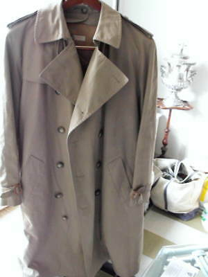 Vintage Mens BROOKS BROTHERS Cotton Khaki Belted Trench Coat w/Epaulets 40R