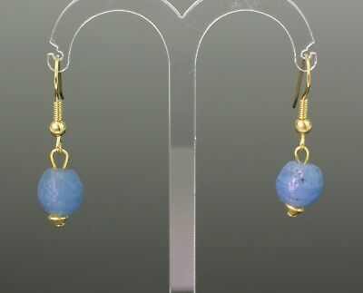 Ancient Roman Blue Glass Bead Earrings - Circa 2Nd Century Ad