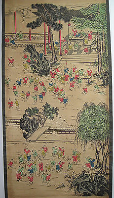 Rare antique chinese museum painting scroll One Hundred Children By Tangyin唐寅百子图