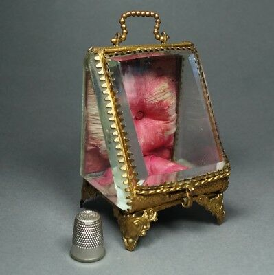 19th Century Miniature French Glass Pocket Watch Holder Jewelry Box Vitrine 1870