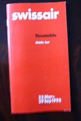 Timetable Flugplan Swissair 1990 Middle East