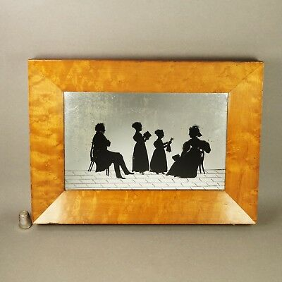 Georgian Group Reverse Silhouette Conversation Piece With Doll C 1830