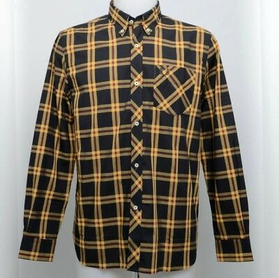 Fred Perry Shirt Long Sleeve Reissues Tartan Black Red Yellow Casual Style