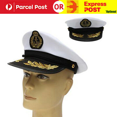 Sea Sailor Yacht Boat Captain Hat Navy Cap Skipper Costume Party Fancy Dress