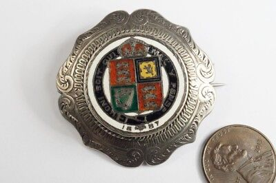 ANTIQUE ENGLISH SILVER ENAMEL VICTORIAN SHILLING COIN BROOCH c1887