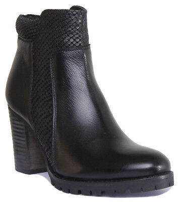 Justin Reece Sally Womens Leather Ankle Boot Mid Heel Black Size UK 3 - 8