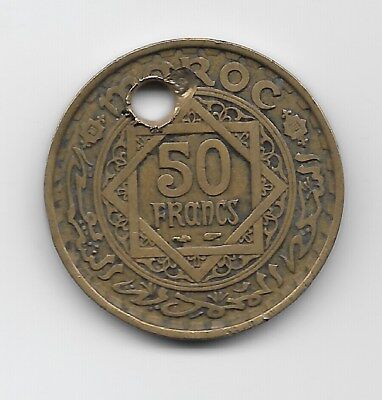 World Coins - Morocco 50 Francs 1952 Coin Y# 51 ; Holed