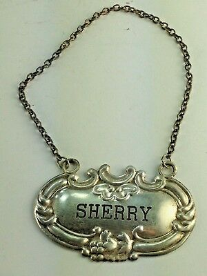 "Vintage W Shield Sterling Silver Decanter Label / Tag  ""sherry"""