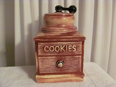 "Cookie Jar Rare Vintage 1960's  USA  McCoy  Brown  ""Coffee Grinder"""