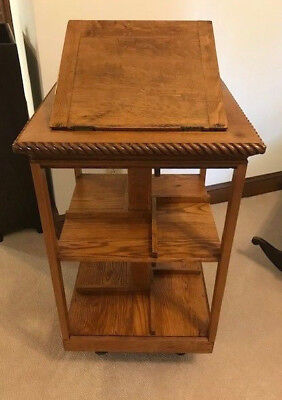 Antique Oak Revolving Bookcase with Lectern