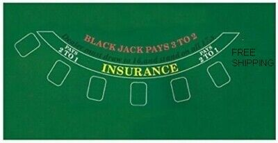 "Blackjack Table Top Layout 36""x 23"" Green Mat Pad Felt Portable Cover"