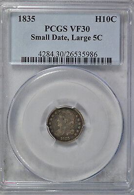 1835 Capped Bust half dime, PCGS VF30