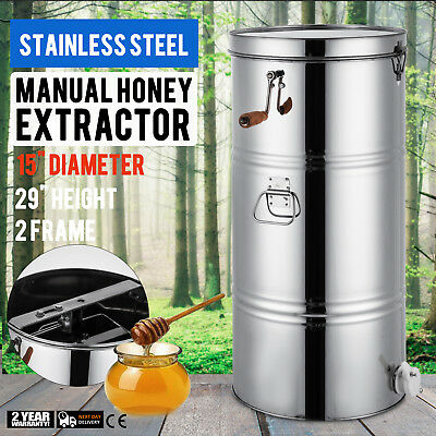"""Two 2 Frame Honey Extractor Stainless Mental 29"""" Height 2"""" Outlet Beekeeping"""