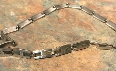 VTG SIGNED VJC TAXCO MEXICO STERLING SILVER ABOLONE LINK CHOKER NECKLACE 33.3g
