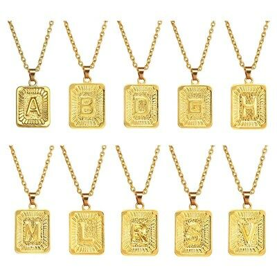 Mens Women Chain Pendant Necklace Gold Filled Square Initial Letter A-V Hip Hop