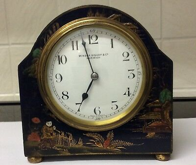 Blue Hand Painted Blue Chinoiserie Mantle Clock ++Made In France++