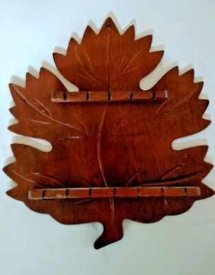 collectible souvenir Spoon rack Wall Hanger wood holds 12 spoon maple leaf shape
