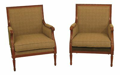 30471EC: Pair HENREDON Ralph Lauren French Louis XV Style Arm Chairs
