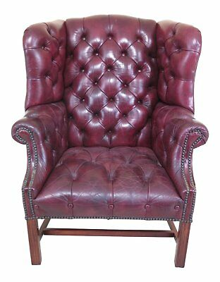 30444EC: Chesterfield Style Tufted Leather Chippendale Wing Chair