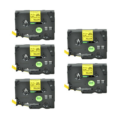 """5PK Heat Shrink Cartridge Label Black on Yellow HSe631 For Brother P-Touch 1/2"""""""