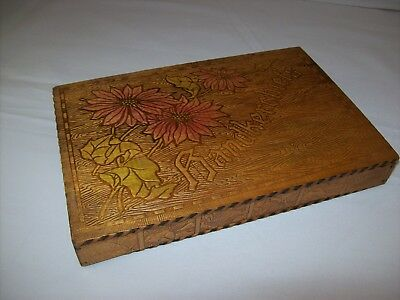 Vintage Antique Flemish Pyrography Butterfly Hinged 6x9 Handkerchief Wooden Box