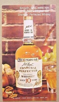 J.W. Dant 10 Year Old Kentucky Whiskey  1960s Ad Postcard