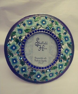 Austrian Crystal Picture Frame Green Floral 3 X 3 Round Sheffield Home New
