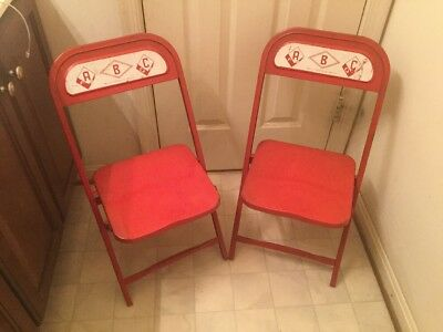 Lot Of 2 Vintage F.C. Castelli Co. Metal Kids Folding Chairs ABC