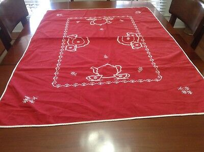 Red luncheon Tablecloth 47 X  34 cross stitch teapot cups vintage hand made