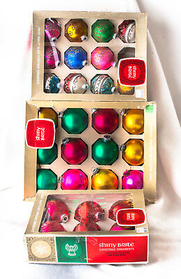 Ornaments Shiny Brite Vintage Glass Stenciled Glitter Lot of 3 Boxes 29 Pc.