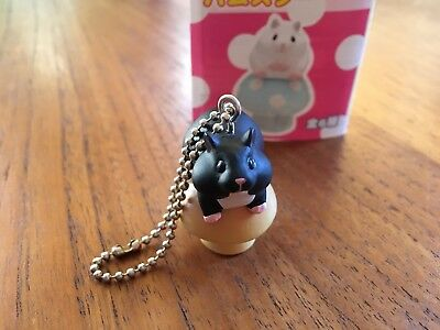 Kitan Club Hamster on Mushroom figure keychain - black hamster