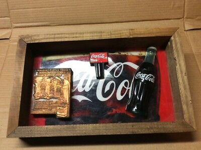 Caca Cola Antique Brass Printing Plate Shadow Box- Rustic Decor or Man Cave