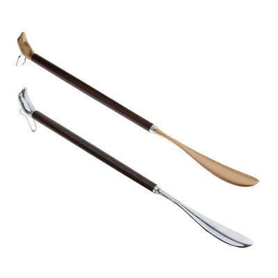Long Metal Shoe Horn with Schima Wood Handle with Solid Dolphin Head 23.62in