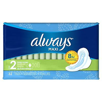 Always Maxi, Size 2, Super Pads With Wings, Unscented 32 Count