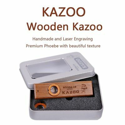 Wooden Premium Wooden Kazoo w/Metal Padded Box - Additional Membrane Included AU