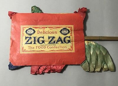 Antique Zig Zag Confection Popcorn Store Display - D.L Clark Crepe Paper Fan