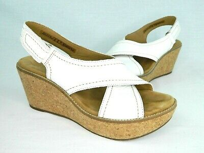 5ceb3e55de6 Clarks Womens 9M White Leather Hook Loop Ankle Strap Cork Platform Wedge  Sandal